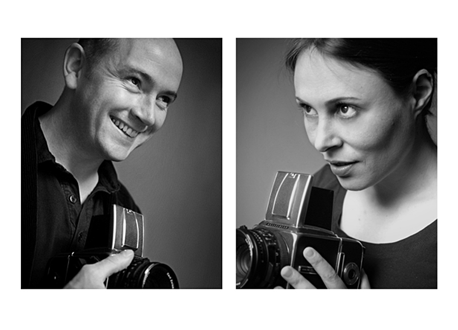Ewan Barry and Audrey Pinard, black and white headshots