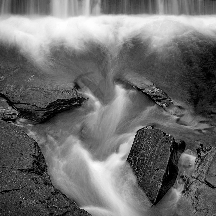 Braklinn Falls abstract black and white, photography workshop Scotland
